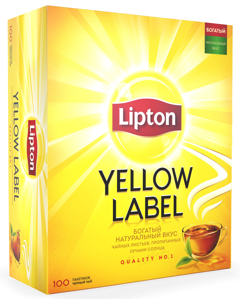 Lipton Yellow Label Черный чай в пакетиках, 100 шт0120710Lipton Yellow Label - черный байховый чай в пакетиках для разовой заварки. Нежные чайные листочки, выращенные под теплыми лучами солнца, дарят чаю Lipton насыщенный вкус и превосходный богатый аромат.Специалисты Lipton внимательно следят за каждым этапом создания чая, начиная с рождения чайного листа и заканчивая купажированием, чтобы Вы могли в полной мере насладиться гармонией вкуса и аромата черного чая Lipton Yellow Label.Уважаемые клиенты! Обращаем ваше внимание на то, что упаковка может иметь несколько видов дизайна. Поставка осуществляется в зависимости от наличия на складе.
