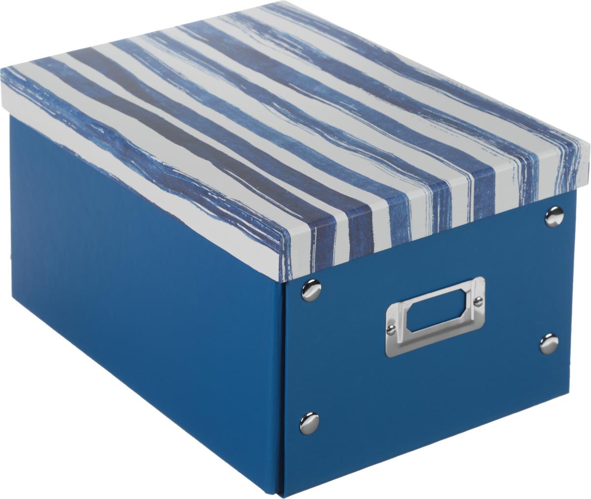 Коробка для хранения, складная, цвет: синий, белый, 21 х 25,5 х 328907 4Коробкадля хранения изготовлена из высококачественного плотного картонаи оформлена оригинальным принтом. Она предназначена для хранения различных мелочей. Изделие легко собирается с помощью металлических креплений и не занимает много места. Такая коробка для хранения идеальное решение для аккуратного хранения различных ниток, канцелярских товаров.Размер коробки (в собранном виде): 21 х 25,5 х 3 см.