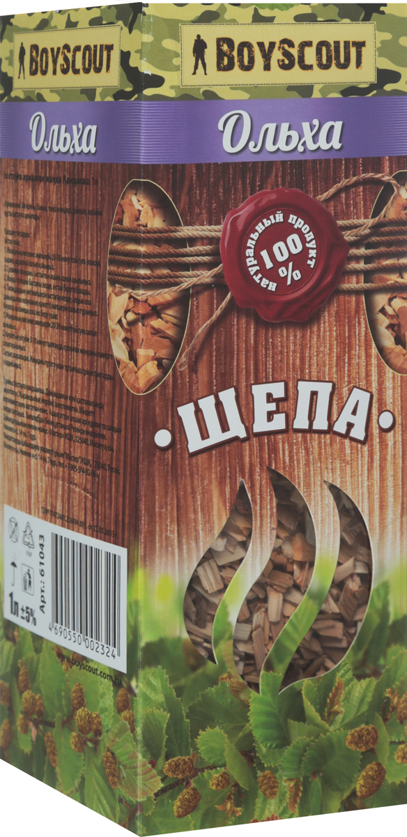 Щепа для копчения Boyscout Ольха, 1 л115510Щепа для копчения Biostyle Ольха изготовлена из свежей сортовой древесины, прошедшей специальную обработку. Ее можно использовать не только для копчения продуктов в коптильнях, но и для придания вкуса и аромата блюдам из мяса, рыбы и птицы, приготовленным на гриле, мангале или на открытом огне.Рекомендуется перед употреблением замочить щепу на 20-30 минут в воде.Инструкция по применению: смоченную водой щепу разложить по дну коптильни. Подготовленный (подсоленный или заправленный приправами) продукт выложить на решетку. Закрыть крышку коптильни и поставить коптильню на огонь. Длительность приготовления от 25 до 50 минут в зависимости от вида продукта и температуры.