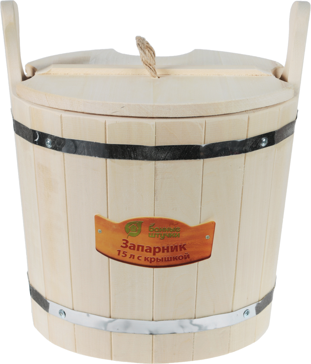 Запарник Банные штучки, с крышкой, 15 л1004900000360Запарник Банные штучки, изготовленный из липы, доставит вам настоящее удовольствие от банной процедуры. При запаривании веник обретает свою природную силу и сохраняет полезные свойства. Корпус запарника состоит из стянутых металлическими обручами клепок. Запарник оснащен деревянной крышкой с отверстием для веника и ручкой из веревки. Интересная штука - баня. Место, где одинаково хорошо и в компании, и в одиночестве. Перекресток, казалось бы, разных направлений - общение и здоровье. Приятное и полезное. И всегда в позитиве. Высота запарника (без ушек): 30 см.Высота запарника (с ушками): 39 см.Диаметр запарника по верхнему краю: 35,5 см.