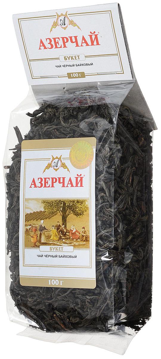 Azercay Букет чай черный листовой, 100 г4630006820447Чай черный байховый крупнолистовой, сорт букет. Чай представляет собой смесь отборных чайных сортов, которые собраны с чайных плантаций Астары и Ленкорани.