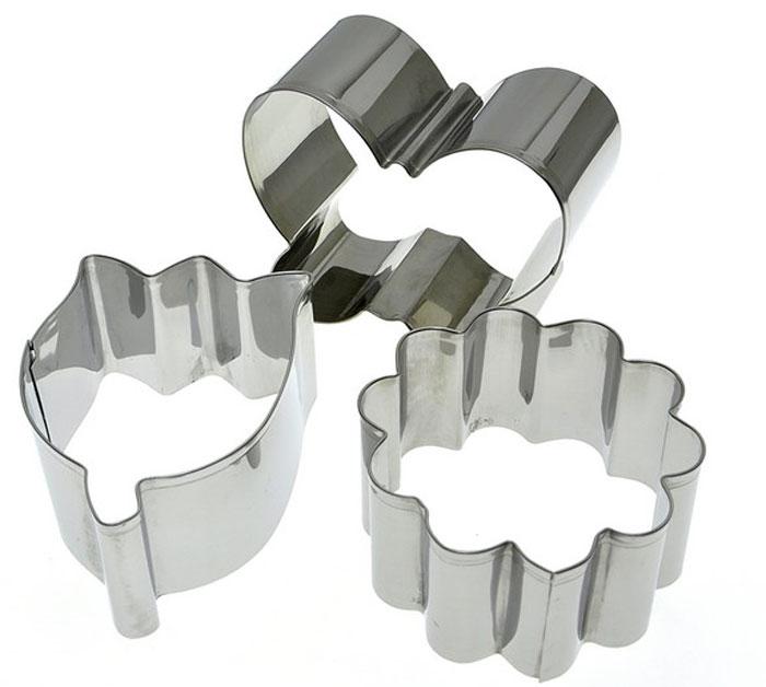 Набор форм для выпечки Мультидом Весна, 3 штFS-91909Кулинарные формы необходимый аксессуар для подготовки праздничного стола. Эти специальные полые формы – используются для оформления блюд, помогут сервировать закуски и десерты, пригодятся для порционного тушения, сборки бутербродов и канапе, а также с их помощью можно вырезать фигурки из теста. Применение форм сможет удивить гостей эффектными шедеврами кулинарного искусства, вы сможете красиво подать на стол практически любые закуски и блюда, которым необходимо придать идеальную строгость форм.Изготовлено из коррозионностойкой нержавеющей стали. После применения рекомендуется промыть губкой с использованием жидких моющих средств.Хранить в сухом помещении.Размеры форм: 7,5 х 7,5 х 4 см; 8,5 х 7 х 4 см; 8,5 х 6 х 4 см.