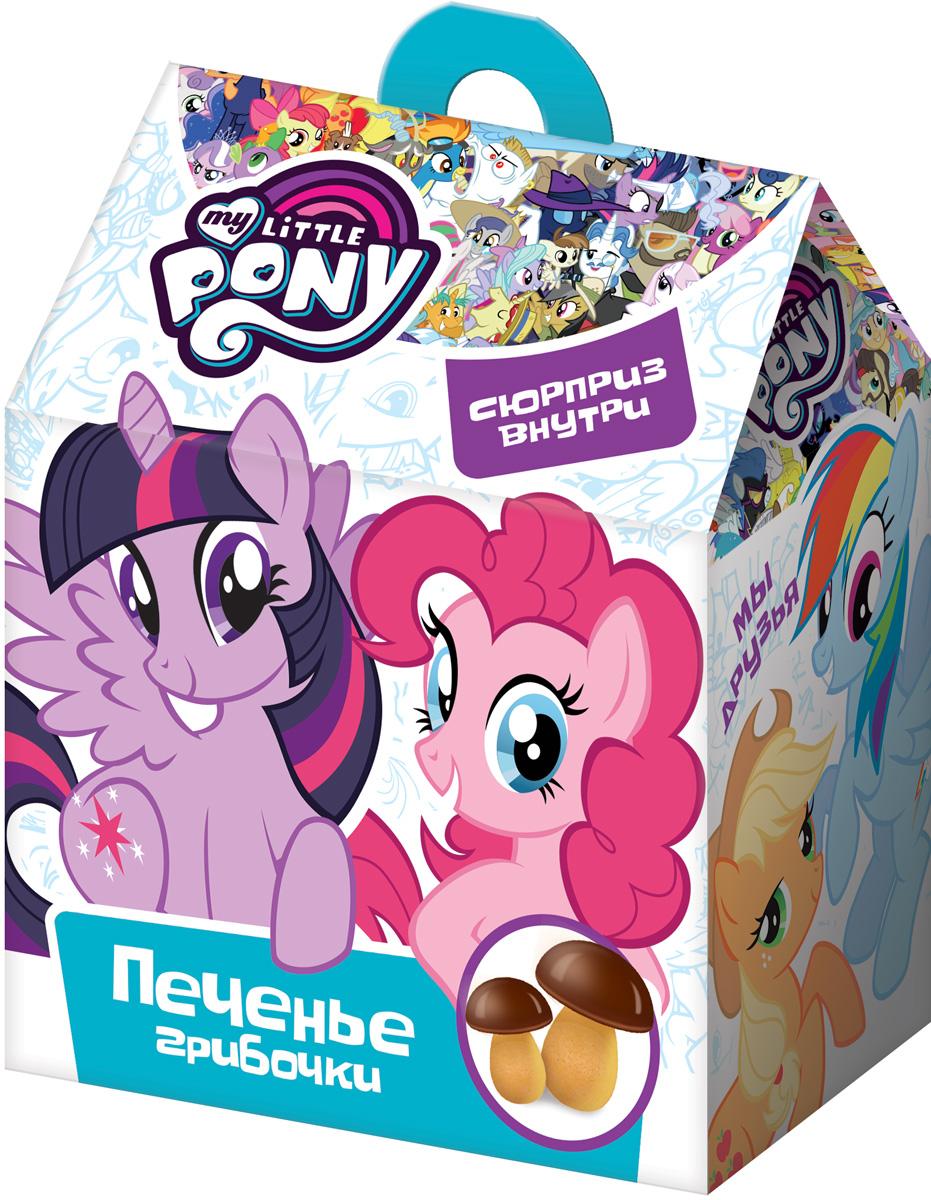 My Little Pony печенье с шоколадной глазурью и сюрпризом, 42 г0120710Печенье в виде грибочков в пакетике + объемный стикер.