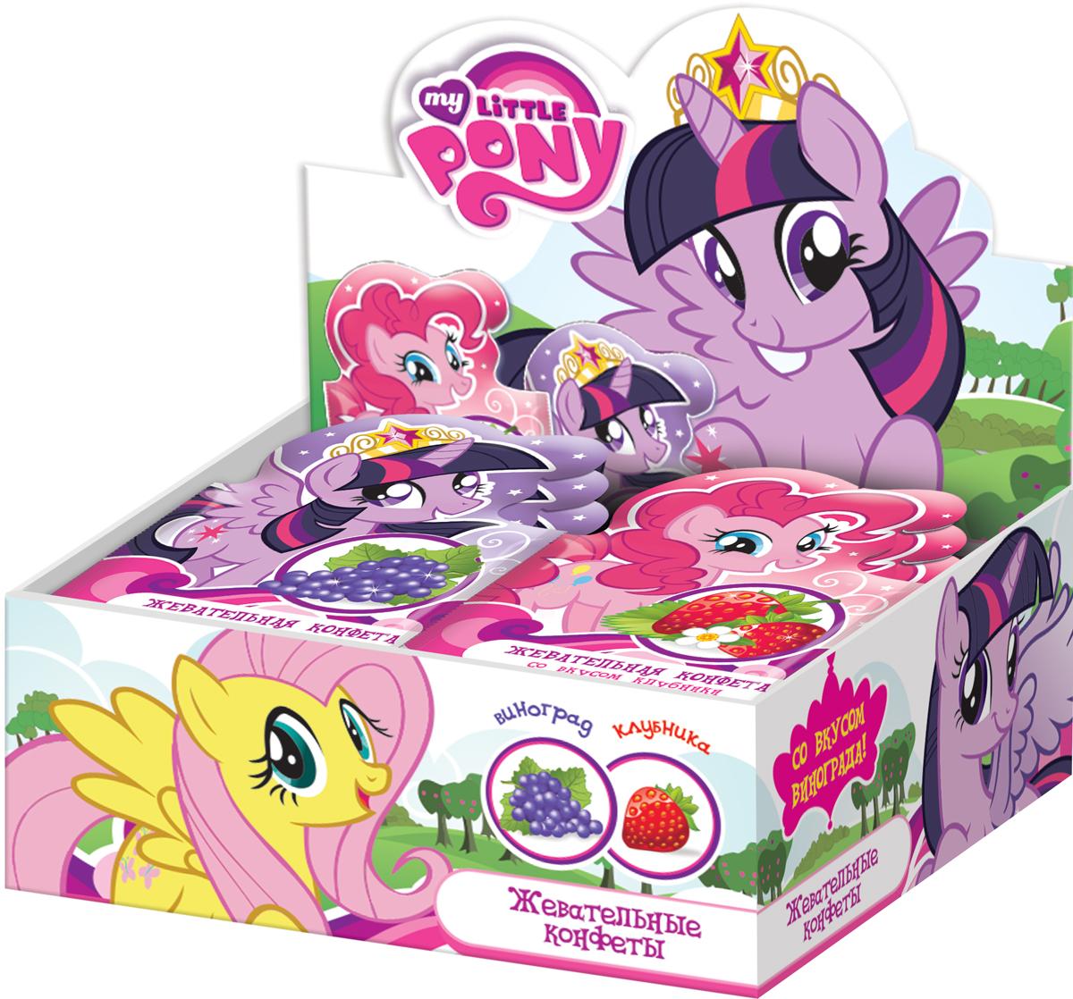 My Little Pony жевательные конфеты, 24 шт по 15 гУТ16547Жевательные конфеты в форме маленьких шариков в фигурном флоупаке с дизайном и информацией для потребителя.