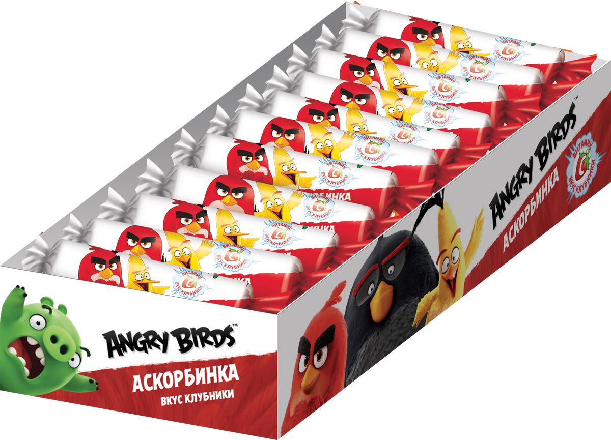 Angry Birds Movie аскорбинка со вкусом клубники, 20 шт по 30 г0103/2Жевательные таблетки со вкусом клубники.