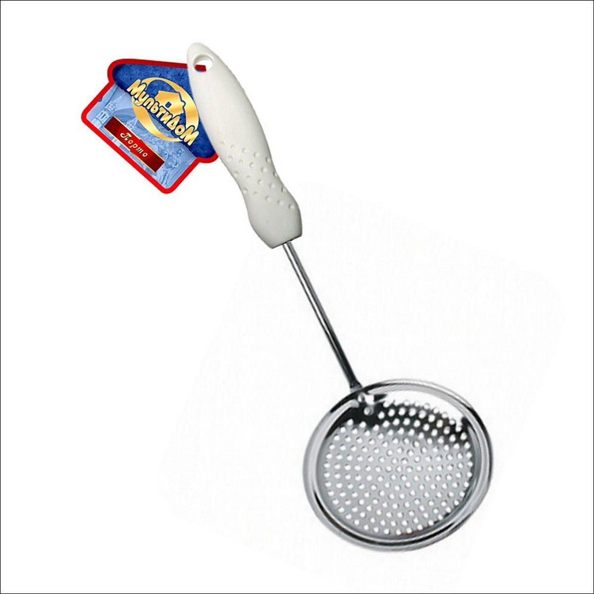 Шумовка Мультидом ПортоFS-91909Используется для снятия пенки с готовящихся первых блюд, а также варенья. Изготовлено: рабочая часть из хромированной стали, ручка из пластмассы. После приминения вымыть с использованием жидких моющих средств.
