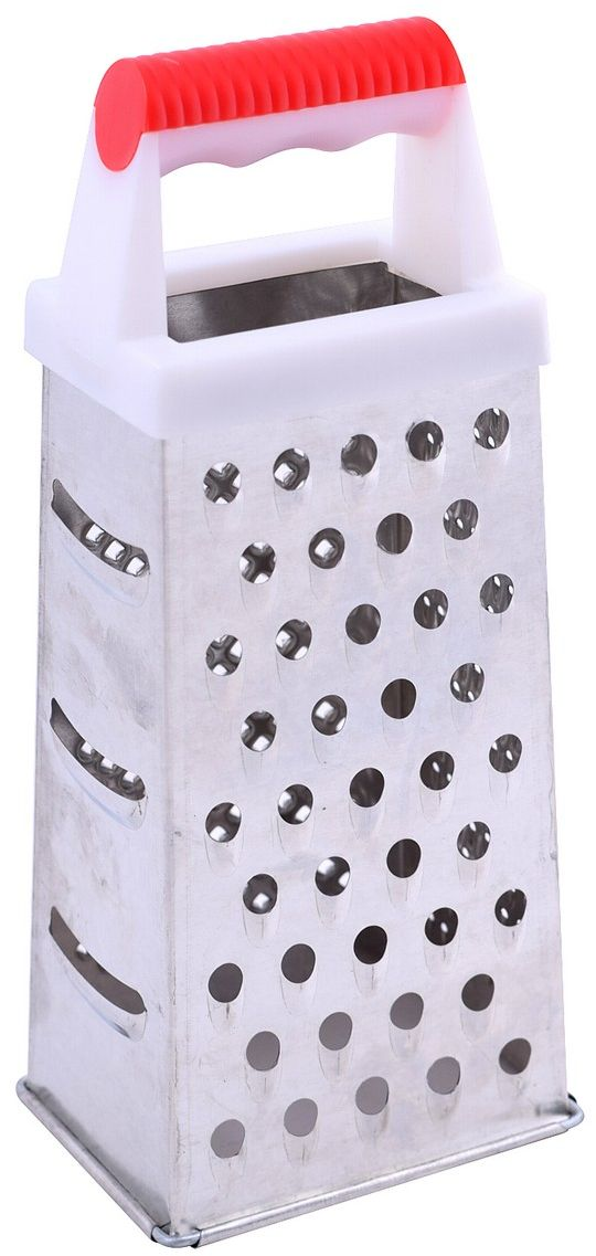 Терка Мультидом, четырехгранная, высота 19 см115510Используется для измельчения сырых и вареных овощей и фруктов. Изготовлена из стали с коррозионностойким покрытием, ручка из пластмассы.Высота терки 19 см.После применения рекомендуется мыть мягкой щеткой с использованием жидких моющих средств.