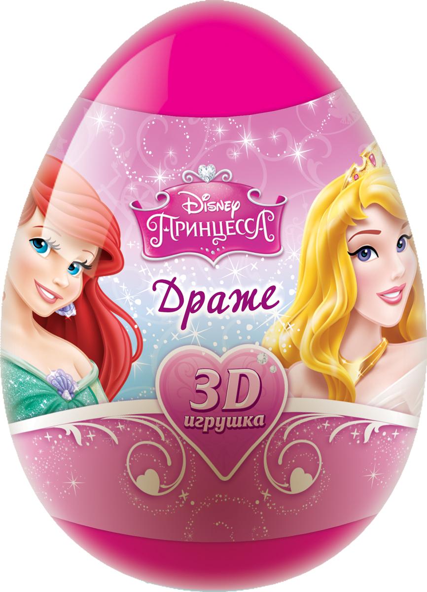 Disney Принцесса фруктовое драже с игрушкой, 20 гУТ18732Пластиковое яйцо, 3D-игрушка в отдельном пакете с лифлетом, 2 коллекции игрушек по 6 штук в коллекции, 20 г драже в пакетике.