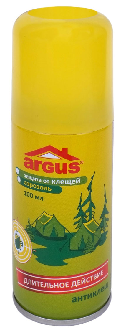 Аэрозоль Argus Антиклещ, 100 млBH-SI0439-WWАэрозоль Argus Антиклещ - средство инсектоакарицидно-репеллентное применяется против иксодовых клещей, а также блох, комаров, мокрецов и москитов. Наносится на одежду.Клещевой энцефалит и бореллиоз, передающиеся клещами при укусе, очень опасны. Следует правильно одеваться (брюки заправлять в сапоги или носки с плотной резинкой, рубашку и куртку с длинными рукавами и плотно прилегающим к руке манжетами заправлять в брюки), осматривайте себя для обнаружения клещей, не садитесь и не ложитесь на траву. По возвращении из леса необходимо раздеться и тщательно осмотреть тело и одежду.Время защитного действия: от клещей - до 15 суток, от летающих насекомых - до 10 суток при хранении одежды в закрытом полиэтиленовом пакете.Состав: альфациперметрин 0,25%, ДЭТА 10%, спирт изопропиловый, пропеллент.Уважаемые клиенты!Обращаем ваше внимание на возможные изменения в дизайне упаковки. Качественные характеристики товара остаются неизменными. Поставка осуществляется в зависимости от наличия на складе.