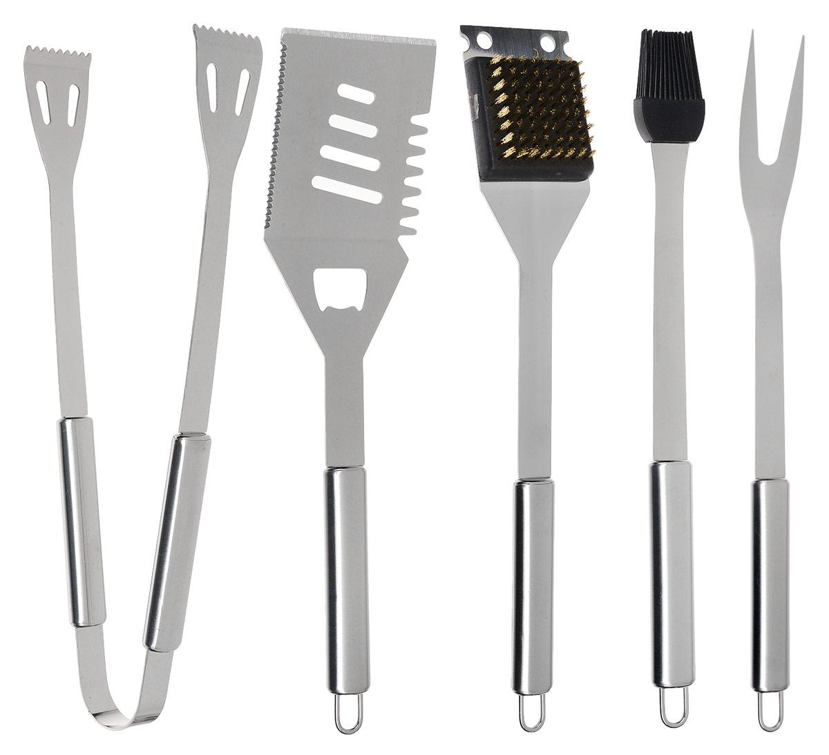 Набор для барбекю Grun Gras, с чехлом, 6 предметов. 30312101-207Набор Grun Gras состоит из специальных инструментов, предназначенных для приготовления гриля и барбекю:- лопатка, - щипцы,- щетка, - силиконовая кисть, - вилка для мяса .Изделия выполнены из высококачественной нержавеющей стали. Сквозь отверстия вщипцах и лопатке жидкость может беспрепятственно стекать. Такимобразом, продукты могут аккуратно выкладываться.Петельки для подвешивания позволяют хранитьинструменты прямо у гриля.Набор упакован в алюминиевый кейс с металлическими защелками.Длина лопатки: 33 см. Размер рабочей части лопатки: 15 х 8 см.Длина щипцов: 34 см.Длина щетки: 35 см.Размер рабочей части щетки: 8 х 6 см.Длина силиконовой кисти: 33 см.Размер рабочей части кисти: 5,5 х 3 х 1 см.Длина вилки для мяса: 41 см. Длина ножа для мяса: 35 см.Размер рабочей части вилки для мяса: 8,5 х 3,5 см.Размер кейса: 38 х 17 х 8 см.