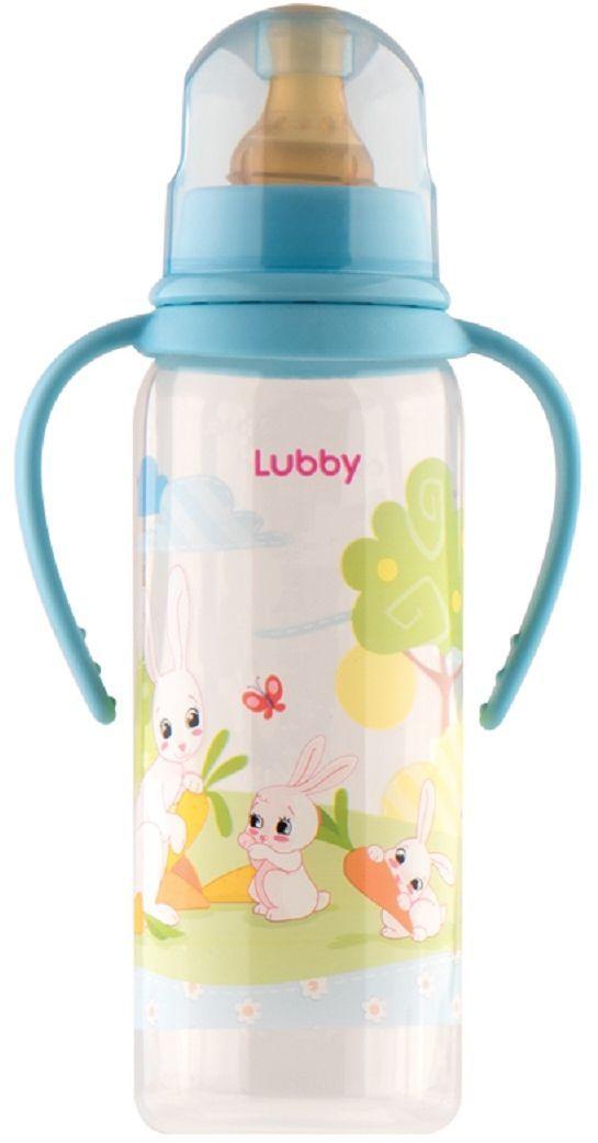 Lubby Бутылочка с латексной соской Веселые животные от 0 месяцев цвет голубой 250 мл
