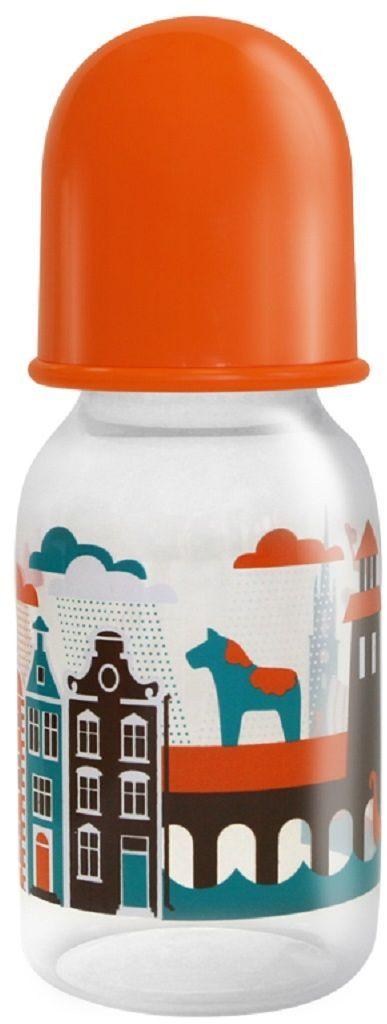 Lubby Бутылочка с силиконовой соской Я люблю от 0 месяцев цвет оранжевый 125 мл