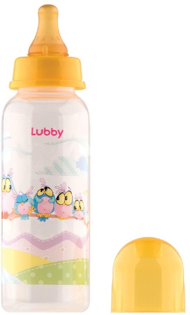 Lubby Бутылочка с латексной соской Веселые животные от 0 месяцев цвет желтый 250 мл