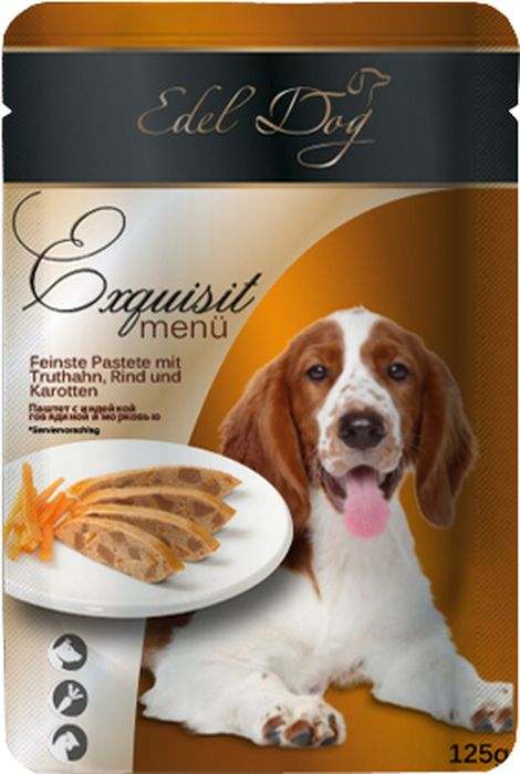 Корм консервированный Edel Dog для собак, паштет с индейкой, говядиной и морковью, 125 г0120710Состав: мясо и мясопродукты (5,0% индейки), (5,0% говядины), овощи (4,0% моркови), минеральные вещества, инулин (0,1%). Минералы: медь (сульфат меди ll, пентагидрит) 1 мг, марганец (сульфат марганца ll, моногидрат) 1 мг, цинк (сульфат цинка, моногидрат) 18 мг.