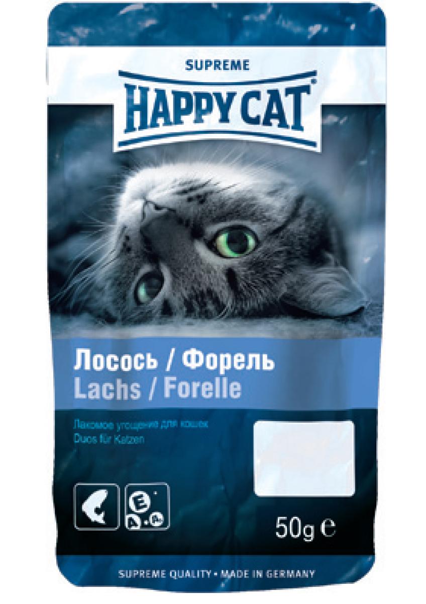 Лакомство для кошек Happy Cat, угощение с лососем и форелью, 50 г0120710Легкий перекус между кормлениями.Состав: Мясо и мясопродукты, злаки, рыба и рыбные продукты (4% лосося, 5% форели), сахар, растительные продукты.