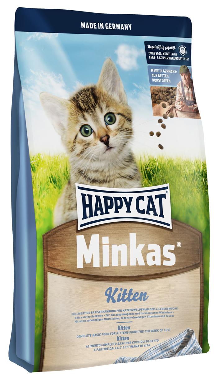 Корм сухой Happy Cat Minkas Kitten для котят, 10 кг16629Minkas Kitten — полноценный базовый корм для котят начиная с 4-й недели жизни. Благодаря ценным белкам из мяса птицы,высококачественным злаковым составляющим и отсутствию сои этот продукт нравится кошкам и легко усваивается. Состав: Птица*, птичий жир, картофельные хлопья, кукурузная мука, пшеница, кукуруза, мясопродукты, рыба, свекольная пульпа*, лигноцеллюлоза, масло из семян подсолнечника, яблочная пульпа**, хлорид натрия, рапсовое масло; (*сухие, с частичным гидролизом; ** сушеные).Минеральные вещества: железо (E1,железа (II) сульфат) 130 мг, медь 12 мг, сульфат меди (II), цинк (E 6,оксид цинка) 100 мг, марганец (E5, марганца (II) оксид) 15 мг, йод(йодат кальция 3b202) 1,5 мг, селен (E8, селенит натрия) 0,15 мг.