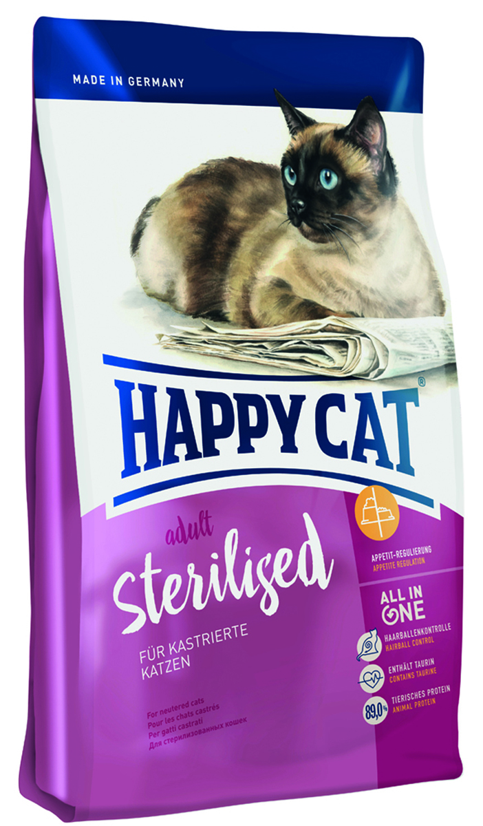 Корм сухой Happy Cat Minkas Sterilised для стерилизованных кошек и кострированных котов, 1,5 кг0120710Minkas Sterilised — полноценный базовый корм с небольшим количеством жиров и специально подобранным уровнем балластных веществ для взрослых стерилизованных кошек. Благодаря ценным белкам из мяса птицы, высококачественным хрустящим злаковым составляющим и отсутствию сои этот продукт нравится кошкам и легко усваивается. Состав: Птица, пшеница, кукуруза, мясопродукты, кукурузная мука, клетчатка, рыба, птичий жир, свекольная пульпа*, масло из семян подсолнечника, яблочная пульпа*, хлорид натрия, рапсовое масло; (**сухой, с частичным гидролизом *сушёный). Минеральные вещества: железо (E1, железа (II) сульфат) 130 мг, медь 12 мг, сульфат меди (II), цинк (E 6, оксид цинка) 100 мг, марганец (E5, марганца (II) оксид) 15 мг, йод (E2, кальция йодат безводный 3b202) 1,5 мг, селен 0,15 мг, селенит натрия.