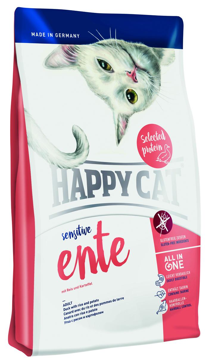 Корм сухой Happy Cat Sensitive для кошек, с уткой, 300 г61896Некоторые кошки имеют особенно чувствительную пищеварительную систему и негативно реагируют на обычный корм. Им нужен корм беззлаков и с максимально сокращенным количеством источник протеина. Happy Cat Sensitive Утка наилучшим образом подходит для таких кошек. В составе есть только один источник животного белкакоторый оснащает питомцем всем необходимым, при этом не нагружает организм. К тому же корм не содержит злаков. Особенная рецептура содержит отборную утку. Также в состав входят полезные рис, легко усваиваемый картофель и богатая витаминами клюква, которые побалуют кошку, конечно же все без глютена. Средняя калорийность и среднее содержание жиров разгружают пищеварительную систему и дает кошкам лучшую базу для активной жизни.Все важные компоненты, основанные на революционном концептеALL IN ONE,которые нужны котятам для активного образа жизни так же содержатся и в этом корме HAPPY CAT, а именно: профилактика скопления шерсти, уход да полостью рта, Омега 3 и Омега 6 для кожи и шерсти, гарантированная вкусовая привлекательность, большое количество животного протеина и HAPPY CAT Naturallife Concept. Данный комплекс имеет большое содержание таурина и минералов которое обеспечивает оптимальный уровень кислотности и тем самым является профилактикой образования мочекаменной болезни.Состав: Утка (23%), рисовая мука (22%), рисовый протеин (19%), птичий жир, картофельные хлопья (5%), гид-ролизат печени, клетчатка, масло из семян подсолнечника, свекольная пульпа*, клюква* (0,5%), хло-рид натрия, дрожжи, яблочная пульпа (0,4%), рапсовое масло, хлорид калия, морские водоросли (0,2%), семя льна (0,2%), Юкка Шидигера* (0,04%), корень цикория* (0,04%), дрожжи* (экстрагирован-ные), расторопша, артишок, одуванчик, имбирь, березовый лист, крапива, ромашка, кориандр, розма-рин, шалфей, корень солодки, тимьян (общий объём сухих трав: 0,18%);*) в сушёном виде.Минеральные вещества: железо 120 мг (сульфат железа (II)), медь 1