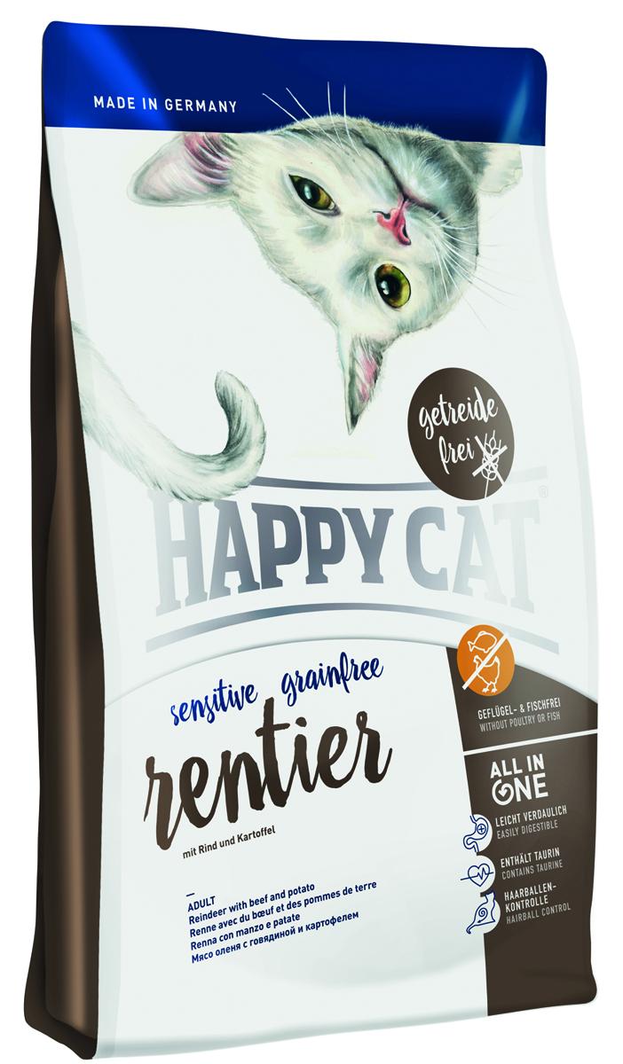 Корм сухой Happy Cat Sensitive Grainfree для кошек, с олениной, 300 г0120710Не все чем мы кормим нашу кошку полезно. Некоторые мягколапки очень чувствительныи обычный корм приводит к аллергии и проблемам с пищеварением. Из-за этого очень важно кормить их кормом, в котором не содержатся злаки и минимальным количеством источников протеина. Это является причиной почему мы добавили в линейку Happy Cat Sensitive корм беззлаковый с Олениной.Happy Cat Sensitive без злаковый корм Оленина производится без злаков, птицы и рыбы. Легкое удовольствие для гурманов с скандинавским оленем, вкусной говядиной и легко усвояемой картошкой дает кошке наилучший фундамент для активной жизни. Все важные компоненты, основанные на революционном концептеALL IN ONE,которые нужны кошкам для активного образа жизни так же содержатся и в этом корме HAPPY CAT, а именно: профилактика скопления шерсти, уход да полостью рта, Омега 3 и Омега 6 для кожи и шерсти, гарантированная вкусовая привлекательность, большое количество животного протеина и HAPPY CAT Naturallife Concept. Данный комплекс имеет большое содержание таурина и минеральных веществ которое обеспечивает оптимальный уровень кислотности и тем самым является профилактикой образования мочекаменной болезни. Состав: Картофель* (39%), оленина* (18%), мясопродукты (говядина 13%), картофельный белок* (6%), говяжий жир (5,5%), гидролизат печени, масло из семян подсолнечника, клетчатка, свекольная пульпа*, рапсовое масло, морковь* (0,5%), яблочная пульпа (0,4%), хлорид натрия, дрожжи, хлорид калия,морские водоросли (0,2%), семя льна (0,2%), юкка шидигера* (0,04%), корень цикория* (0,04%), дрожжи* (экстрагированные), расторопша, артишок, одуванчик, имбирь, березовый лист, крапива, ро-машка, кориандр, розмарин, шалфей, корень солодки, тимьян (общий объём сухих трав: 0,18%);(*) сушеные). Минеральные вещества: железо 120 мг (сульфат железа (II)), медь 12 мг (сульфат меди (II)), цинк 150 мг (оксид цинка), марга-нец 30 мг(оксид марганца (II)), йод 2, 5 мг (
