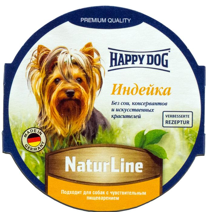 Корм консервированный Happy Dog для собак, паштет с индейкой, 85 г0120710Сбалансированный натуральный мясной рацион. Изготовлен по оригинальной технологии Interquell GmbH (Германия) из натурального мяса и мясопродуктов. Не содержит сои, искусственных красителей, консервантов и генетически модифицированных организмов. Состав: Мясо и мясопродукты (5,0% индейки), минеральные вещества, инулин (0,1%). Минералы: медь 1 мг, марганец 1 мг.