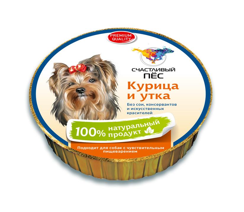 Корм консервированный Счастливый пес для собак, паштет с курицей и уткой, 125 г71505СОСТАВ: Мясо курицы, мясо птицы, печень, витаминно-минеральная смесь,растительное масло, вода. Содержание питательных веществ: протеин –11 %, жир - 4,5%; клетчтака - 0,5%; влажность - 80%.