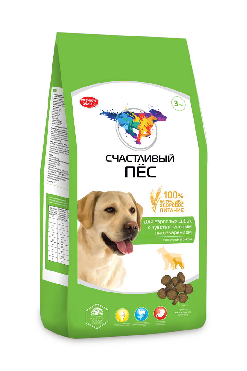 Корм сухой Счастливый пес для взрослых собак с чувствительным пищеварением, с ягненком и рисом, 3 кг0120710Состав: Мясо и продукты животного происхождения (курица мин. 21%), пшеница,кукуруза, рис, ячмень, подсолнечное масло, экстракт белка растительного происхождения, минеральные добавки, пульпа сахарной свёклы (жом), яблочная пульпа, дрожжи, витамины, антиоксидант. Минеральные вещества: Кальций– 1,4%, Фосфор - 0,95%.
