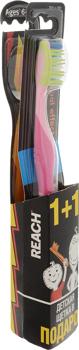 Reach Зубная щетка Dual Effect, жесткая, цвет розовый + ПодарокSC-FM20104Зубная щетка Reach Dual Effect глубоко проникает в межзубные пространства. Резиновые пальчики по бокам щетины мягко массируют десны, предотвращая возникновение пародонтоза. Эргономичный дизайн ручки.Reach - эффективные средства для ухода за полостью рта: зубные щетки, нити и полоскание. Reach эффективно очищают зубы, удаляя налет и остатки пищи из межзубных пространств и вдоль линии десен - именно там, где в 80% случаев возникает кариес. С удалением бактерий устраняется причина неприятного запаха изо рта и обеспечивается свежее дыхание надолго.В качестве подарка прилагается детская зубная щетка Reach от 6 до 12 лет.Товар сертифицирован.