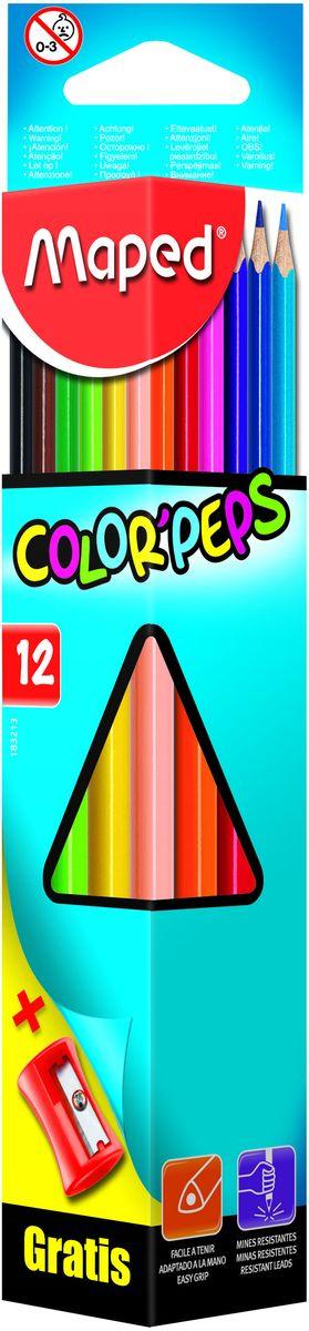 Maped Набор цветных карандашей Colorpeps 12 цветов + точилка72523WDКарандаши цветные из американской липы, треугольные, ударопрочный грифель, в картонном футляре, 12 цветов + точилка бесплатно