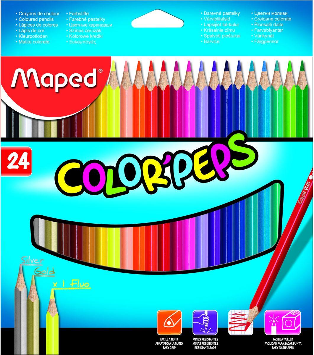 Maped Набор цветных карандашей Colorpeps 24 цветаC13S041944Карандаши цветные из американской липы, треугольные, ударопрочный грифель, в картонном футляре, 24 цвета.