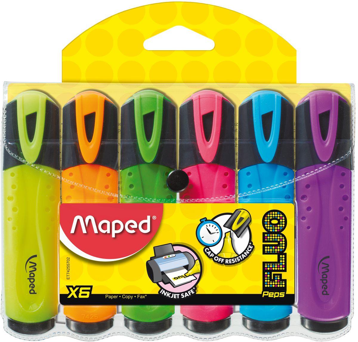 Maped Набор маркеров Fluo PepS 6 цветовFS-36052Текстовыделитель классический, пишущий узел 1-5мм, устойчивые в солнечному свету чернила, набор 6 шт.
