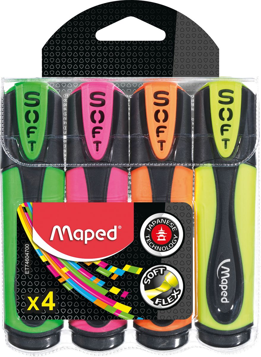 Maped Набор маркеров Maped Fluo PepS Ultra Soft 4 шт72523WDТекстовыделитель, гибкий наконечник, цвета ассорти , 4 шт.