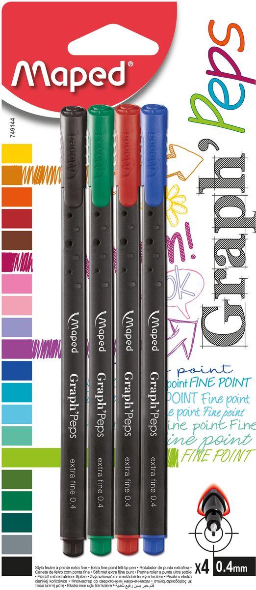 Ручка капиллярная, толщина линии - 0,4 мм, эргономичная зона обхвата, 4 стандартных цвета.