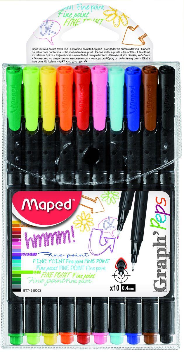 Ручка капиллярная, толщина линии - 0,4 мм, эргономичная зона обхвата, 10 цветов.