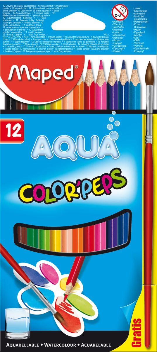 Maped Набор акварельных карандашей Colorpeps 12 цветов275900Карандаши цветные акварельные, из американской липы, треугольные, ударопрочный грифель, в картонном футляре, 12 цветов+кисточка.