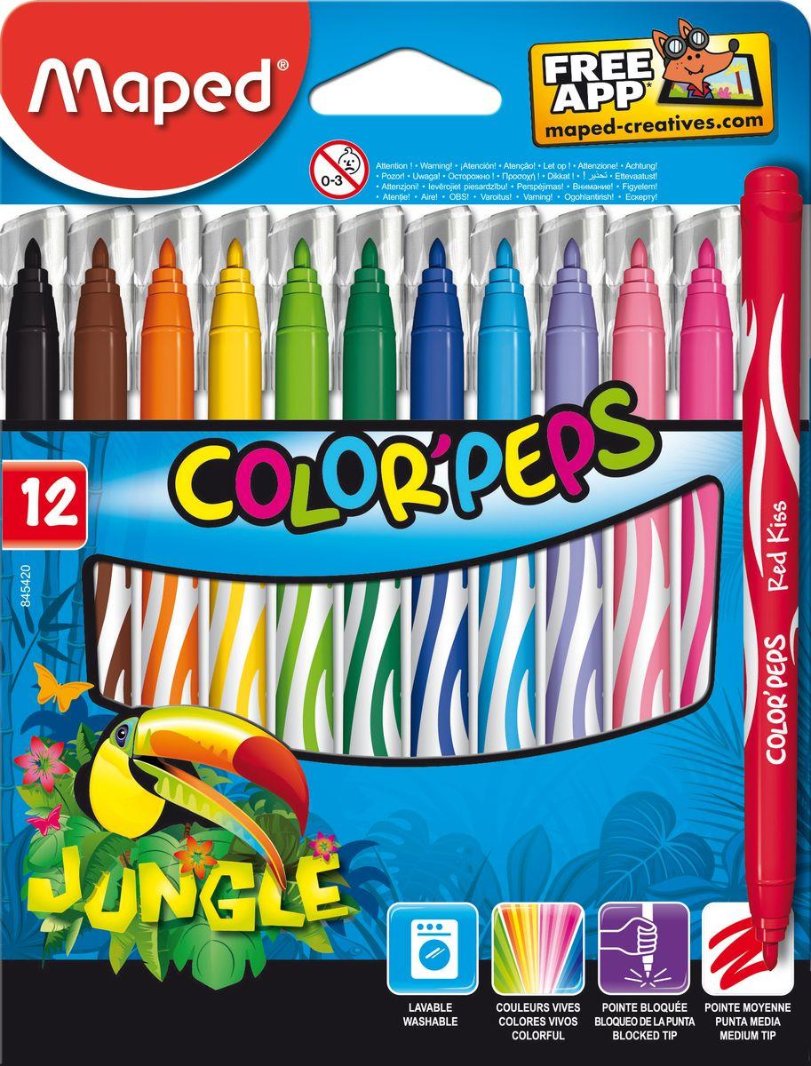 Maped Набор фломастеров Jungle 12 цветовPP-220Фломастеры с заблокированным пишущим узлом, средний пишущий узел, смываемые, в картонном футляре, 12 цветов.