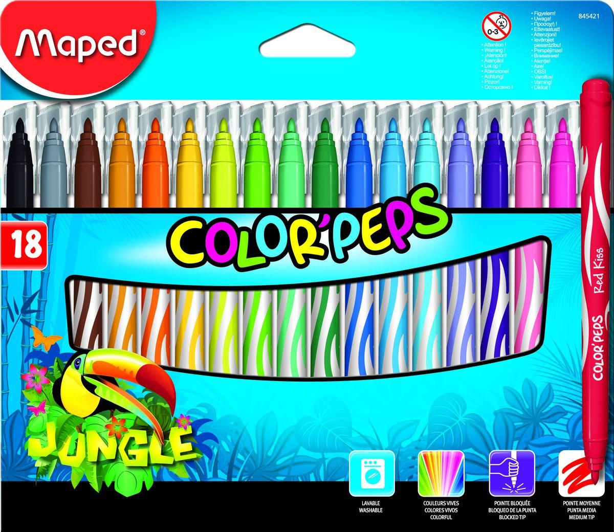 Maped Набор фломастеров Jungle 18 цветовFS-36054Фломастеры с заблокированным пишущим узлом, средний пишущий узел, смываемые, в картонном футляре, 18 цветов.