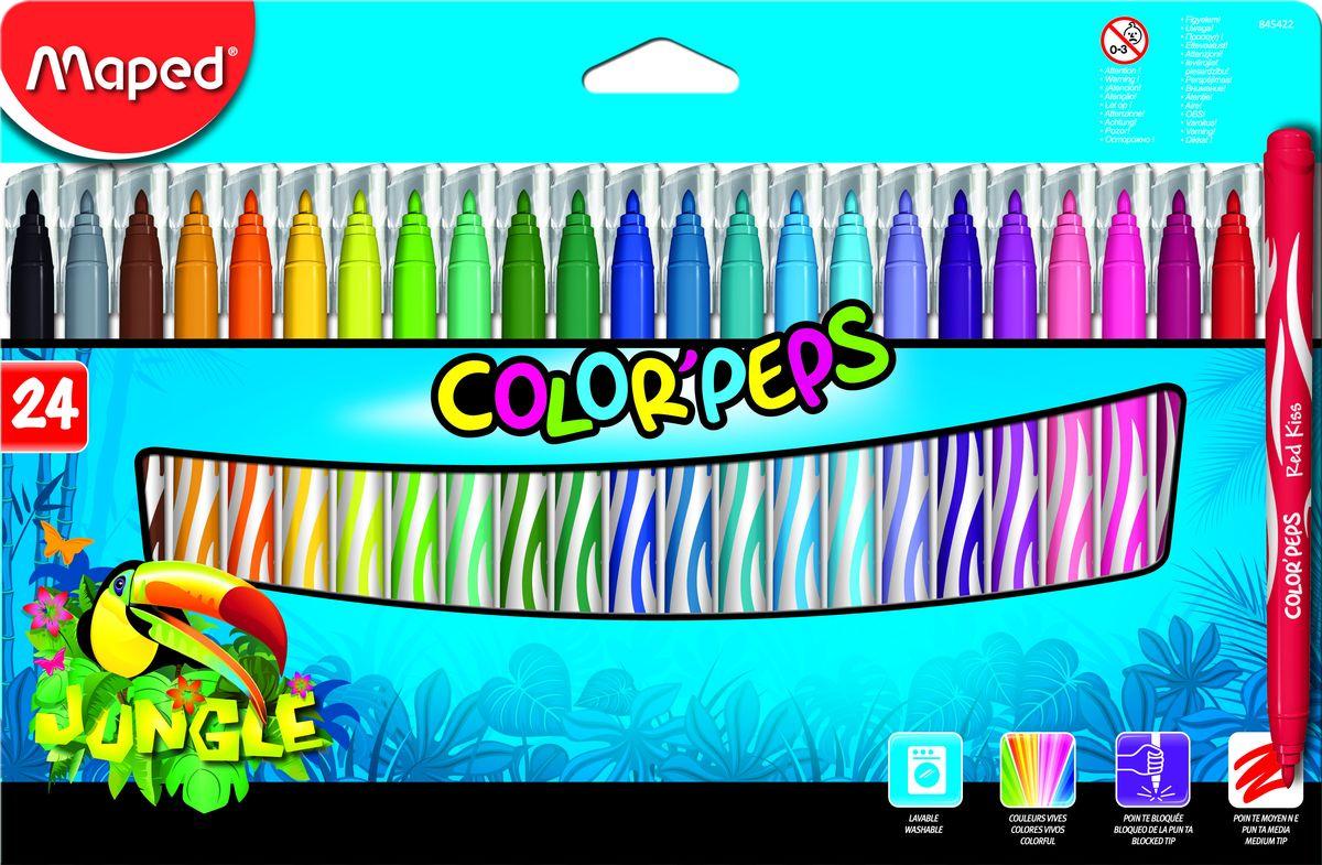 Maped Набор фломастеров Jungle 24 цвета0703415Фломастеры с заблокированным пишущим узлом, средний пишущий узел, смываемые, в картонном футляре, 24 цветов.