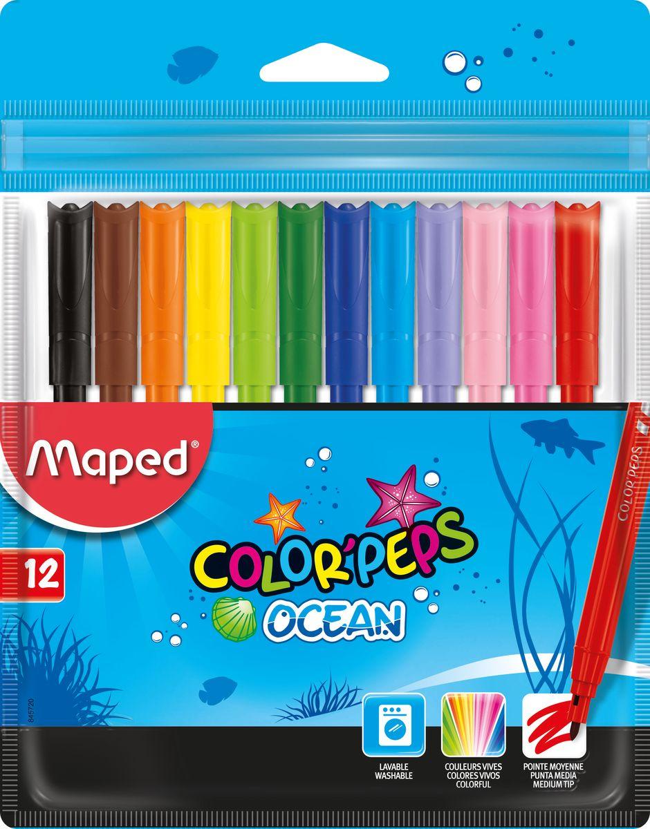 Maped Набор фломастеров Colorpeps Ocean 12 цветов72523WDФломастеры с заблокированным пишущим узлом - супер смываемые, в пакете с подвесом 12 шт.