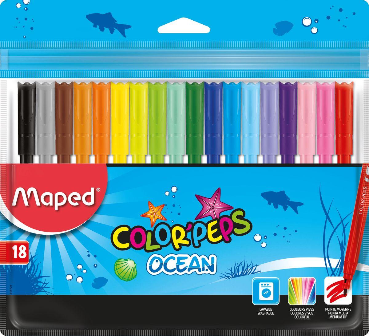 Maped Набор фломастеров Colorpeps Ocean 18 цветовFS-00103Фломастеры с заблокированным пишущим узлом - супер смываемые, в пакете с подвесом 18 шт.