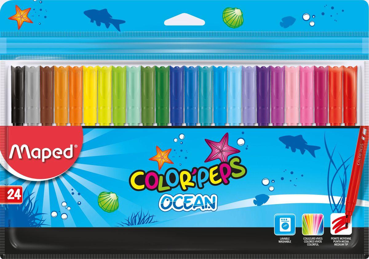 Maped Набор фломастеров Colorpeps Ocean 24 цвета72523WDФломастеры с заблокированным пишущим узлом - супер смываемые, в пакете с подвесом 24 шт.
