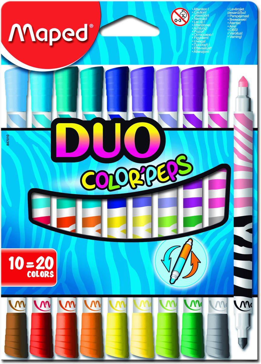 Maped Набор двусторонних фломастеров DUO 10 шт 20 цветовFS-36052Фломастеры двусторонние, с треугольным заблокированным пишущим узлом - для тонкого письма и раскрашивания, супер смываемые, в картонном футляре, 20 цветов, 10 шт.