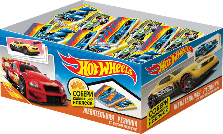 Hot Wheels жевательная резинка с наклейкой, 100 шт по 2,5 г0120710Жевательная резинка в бумажной обертке с наклейкой внутри.