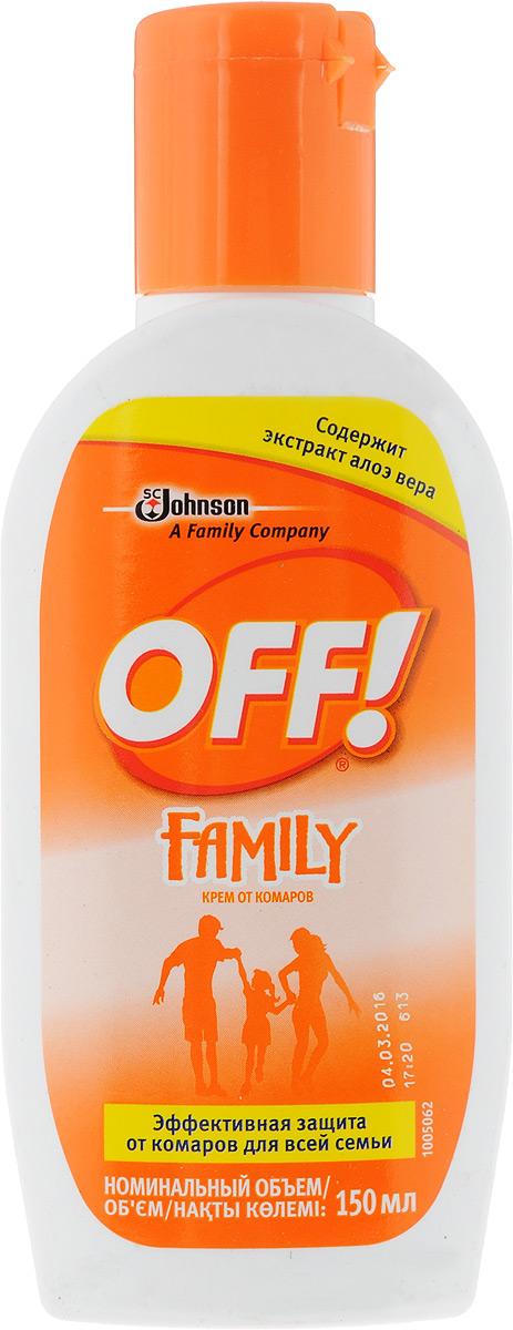 Крем от комаров OFF! Family, 150 мл636827Крем от комаров OFF! Family безопасно и эффективно отпугивает комаров и других кровососущих насекомых (кроме ос и клещей). Обеспечивает защиту в течение 2-х часов. Имеет приятный запах. Разрешено к применению детям с трех лет. Содержит экстракт алоэ вера. Характеристики:Объем: 150 мл. Артикул: 636827.