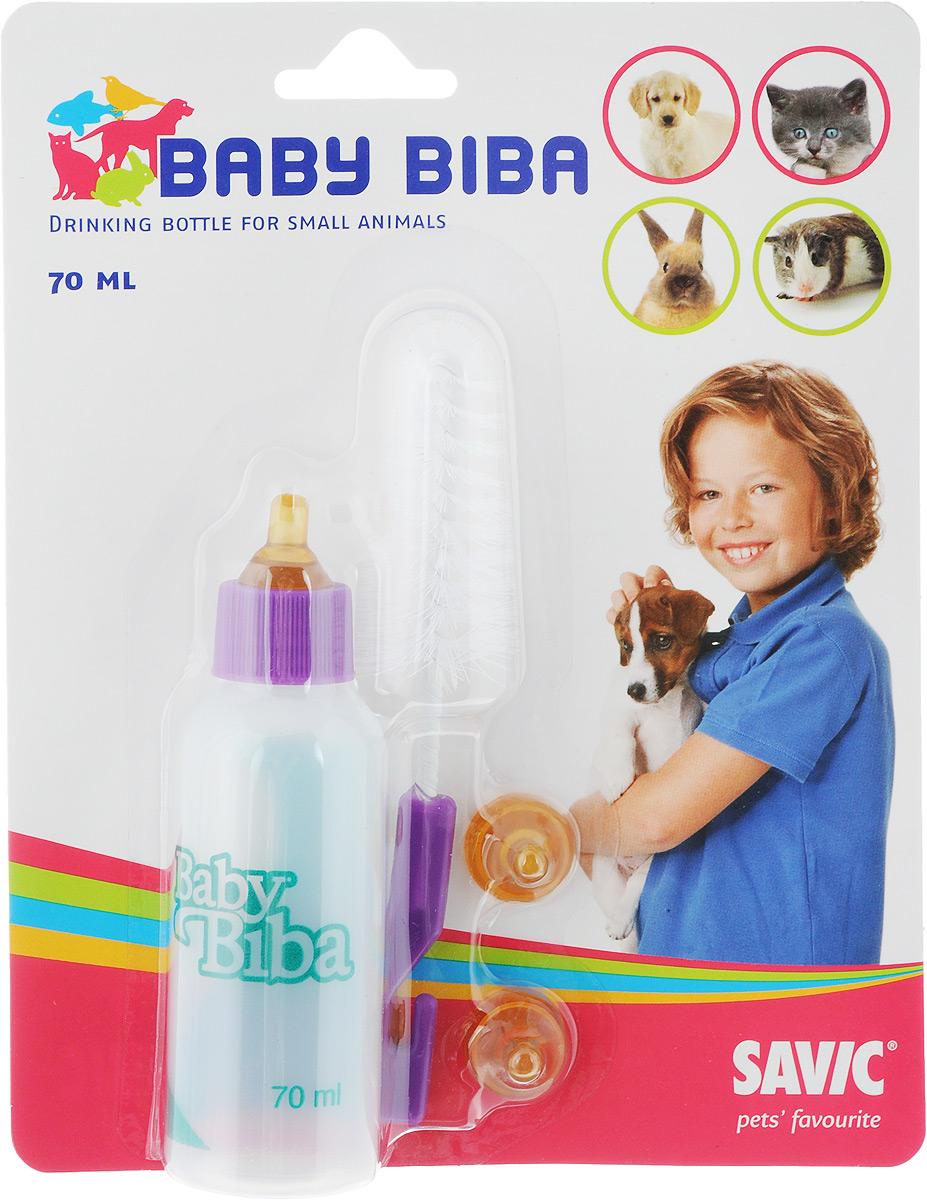 Бутылочка для кормления животных Savic Baby Biba, с 3 сосками и ершиком, 70 мл0120710Бутылочка Savic Baby Biba оснащена соской и предназначена для вскармливания животных. Небольшой объем емкости не будет утяжелять руку во время кормления, широкое горлышко позволит беспрепятственно наливать еду в бутылку, а мерная шкала точно определит объем съеденного питания. Изделие выполнено из безопасных для животного материалов и станет вам верным помощником на самом важном этапе взросления любимца.В комплект входитбутылочка, 3 соски и ершик для мытья. Материал: пластик, текстиль, металл.Объем бутылочки: 70 мл.