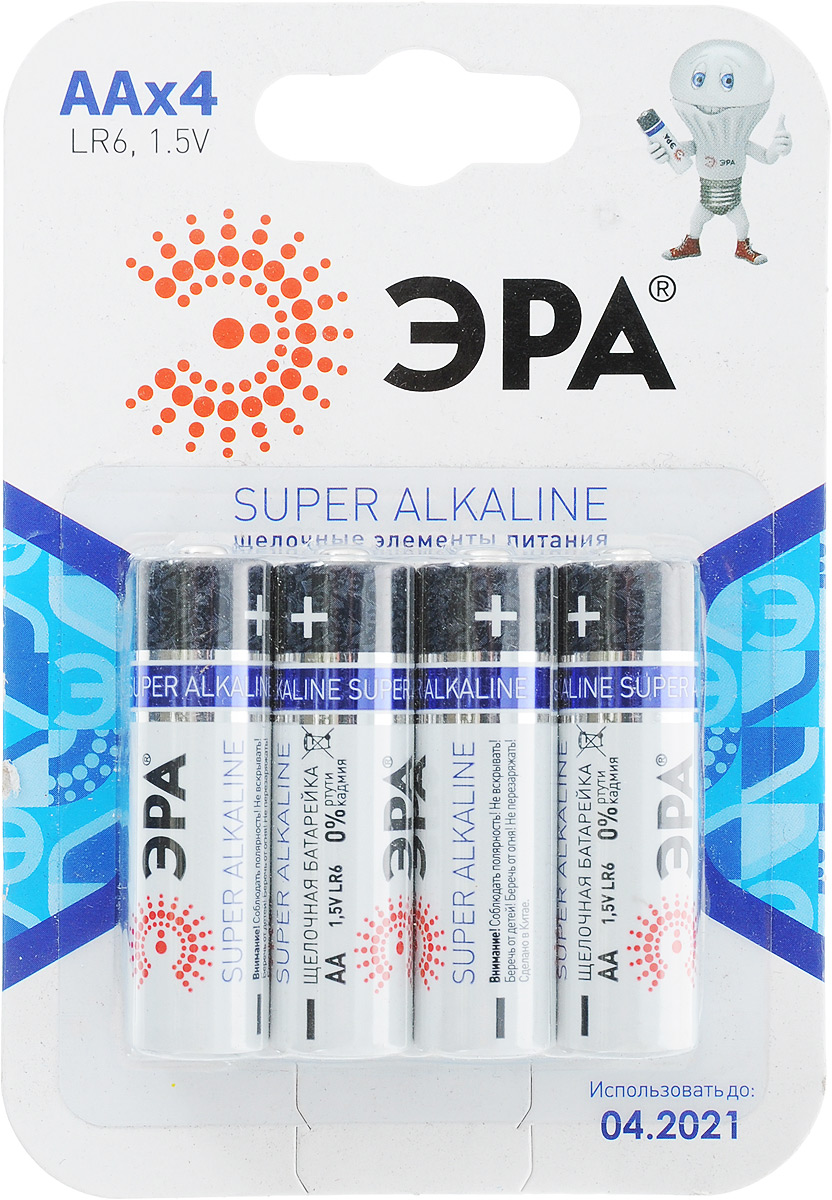 Батарейка алкалиновая ЭРА Energy, тип AA (LR6-4BL), 1,5В, 4 шт2695Щелочные (алкалиновые) батарейки ЭРА Energy оптимально подходят для повседневного питания множества современных бытовых приборов: электронных игрушек, фонарей, беспроводной компьютерной периферии и многого другого. Не содержат кадмия и ртути. Батарейки созданы для устройств со средним и высоким потреблением энергии. Работают в 10 раз дольше, чем обычные солевые элементы питания. В комплекте - 4 батарейки.Размер батарейки: 1,4 см х 4,3 см.