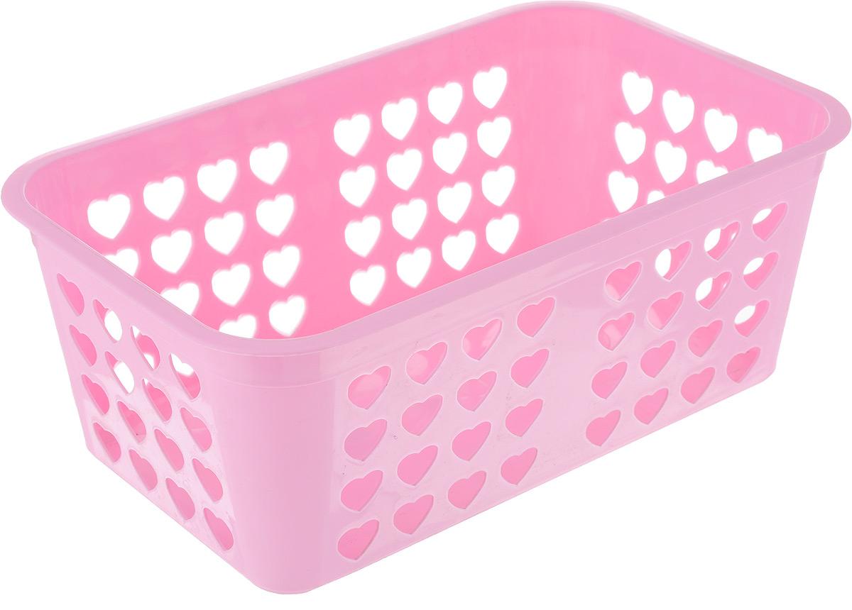 Корзина для хранения Вдохновение, прямоугольная, 26,5 х 16,5 х 10 см, цвет: розовыйБрелок для сумкиКлассическая корзина Вдохновение, изготовленная из пластика, предназначена для хранения мелочей в ванной, на кухне, даче или гараже. Позволяет хранить мелкие вещи, исключая возможность их потери. Это легкая корзина со сплошным дном, жесткой кромкой, с небольшими отверстиями.