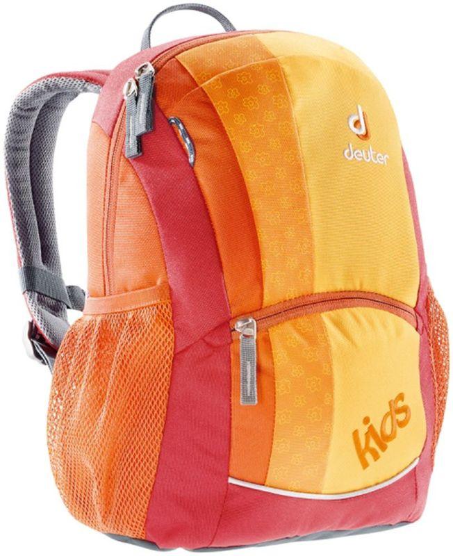 Deuter Рюкзак дошкольный Kids цвет оранжевый36013-9000Этот маленький рюкзачок доставит много радости во время прогулки на озеро илив горы. Веселая цветовая гамма обрадует любых девчонок и мальчишек от 3 лет и старше.- удобная мягкая спинка- S-образные плечевые лямки с мягкими краями- нагрудный стреп- боковые сетчатые карманы- именная бирка внутри- отражатель 3M спереди и на переднем кармане с молнией для безопасности- потайной карманчик на молнии сверху- петли для пристежки разных трофеевМатериал: Super-Polytex