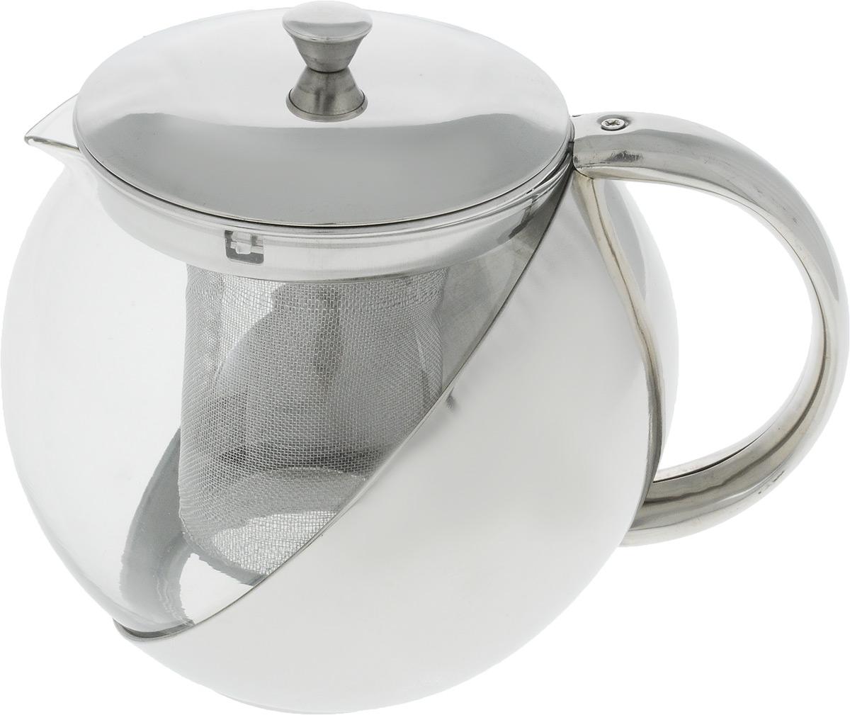 Чайник заварочный Wellberg, 1 л. 6876 WBFS-91909Заварочный чайник Wellberg WB-6870 из стекла и нержавеющей стали прекрасно подойдет для кухни в стиле Hi-tech. Объем чайника составляет 1 литр, что вполне хватит для заваривания 4-5 чашек ароматного черного или травяного чая. Заварочный чайник оснащен качественным фильтром, эргономичной ручкой, удобный крышкой цвета металлик.