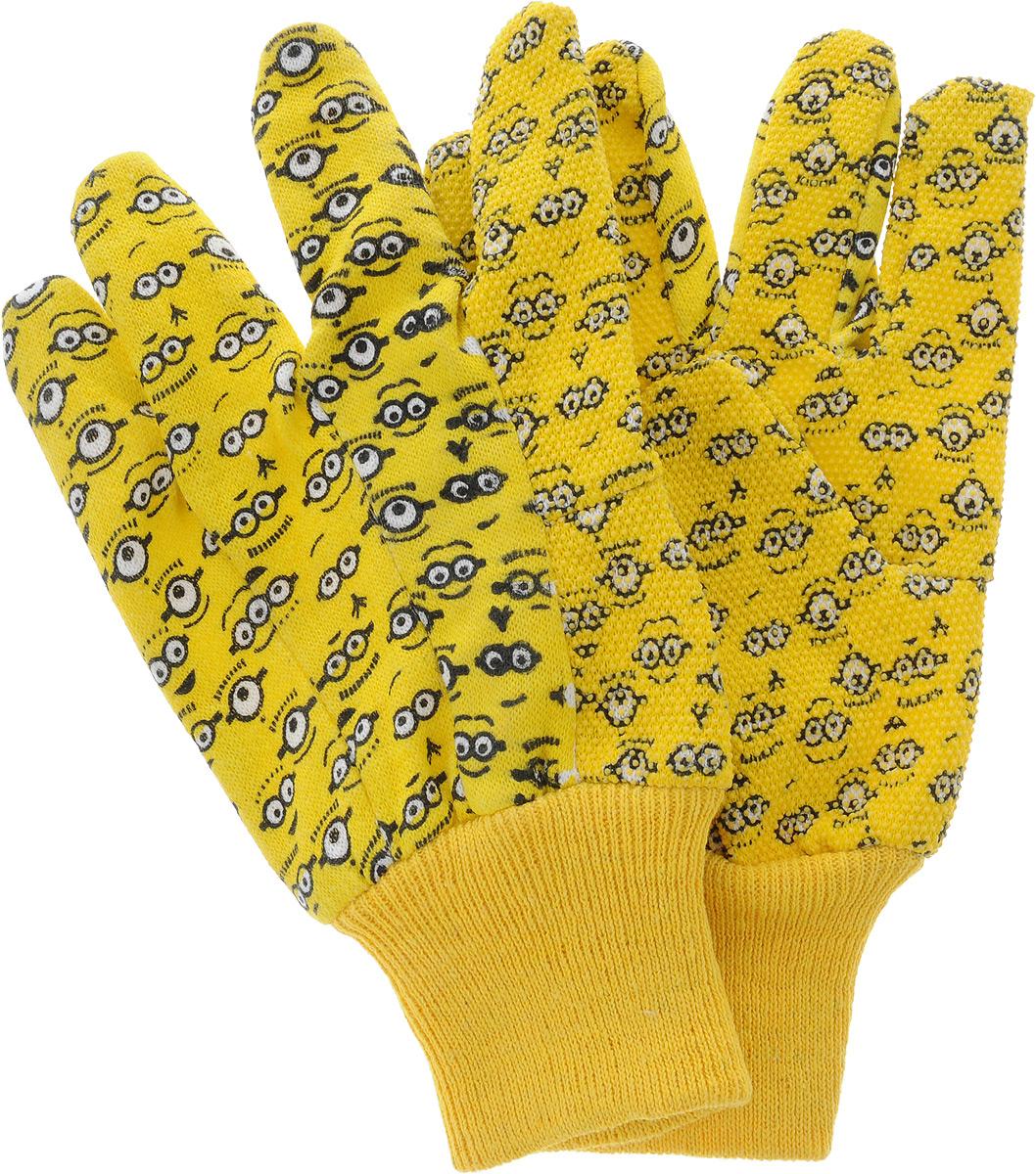 Перчатки садовые Garden Show Миньоны, трикотажные, с манжетой и точками, цвет: желтый. Размер S (8)SVC-300Перчатки садовые Garden Show Миньоны, трикотажные, с манжетой и точками, цвет: желтый. Размер S (8)