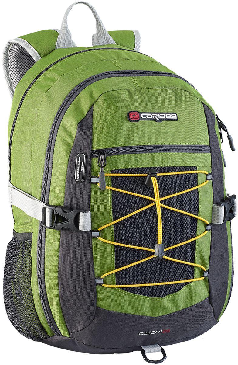 Caribee Рюкзак Cisco цвет зеленый72523WDУниверсалный рюкзак, в котором сочетаются достойное качество и невысокая цена. Отличается комфортом при носке и большим внутренним объемом. Рюкзак имеет продуманную спинку с правильно расположенным центром тяжести и удобные лямки, позволяя в несколько раз снизить нагрузку на плечи. Для правильного распределения веса в рюкзаке используется инновационные ремни с компрессионным эффектом по бокам, при помощи которых рюкзак максимально прижат к спине, что уменьшает эффект рычага и его переноска становится более легкой и удобной. Внутри рюкзака находятся два больших отделения на молнии, встроенный органайзер, отделение для плеера, боковые карманы для бутылок с водой, ручка для переноски. Материал рюкзака устойчив к разрывам, истиранию, попаданию влаги, хорошо чистится. Объем: 30 л.Размер: 48 х 30 х 20 см.